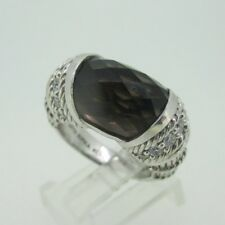 & Cz Ring Size 7 Sterling Silver Judith Ripka Smoky Quartz