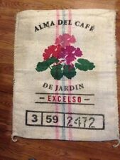 ONE (1) ALMA DEL CAFE BURLAP SISSAL  COFFEE BURLAP SACK BAG WEDDING GUNNY