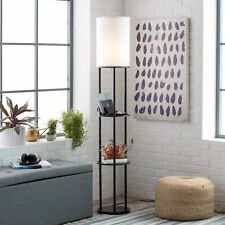 Charging Station Shelf Floor Lamp End Table Nightstand Side Reading Light Stand