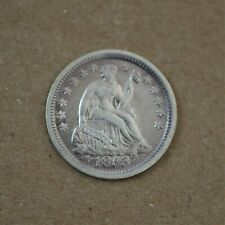 1853-O US Liberty Seated Half Dime Variety 3, AU+ Condition, Purple Toning A-891