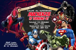 Personalised DC Marvel Superhero Birthday Party Invites inc Envelopes SG20