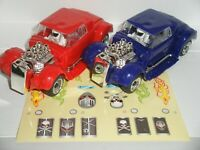 Scalextric - Quick-Build - Pair of Purple & Red Hot-Rod - Nr. Mint (+Stickers)