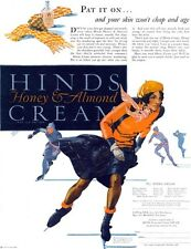 Ice Skating Skater HINDS CREAM Saul Tepper GE REFRIGERATOR 1927 Print Ad
