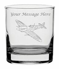 Personalised Engraved Whisky Glass With Spitfire Design