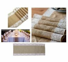 HESSIAN LACE TABLE RUNNER Party Decorations Burlap Rustic Vintage Wild Wedding
