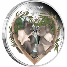 2012 Tuvalu 50c Forever Love Two koalas, Valentine 1/2 Oz .999 Proof Silver Coin