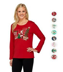 QUACKER FACTORY Holiday Embroidered Long Sleeve T-Shirt XXS-3X 290222RM