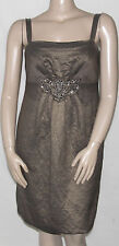 NEW R&M Richards Size 14 Sleeveless Empire Waist Dress w/ Beading Detail MOCHA
