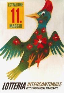 Original vintage poster SWISS LOTTERY BIRD 1942 Carigiet