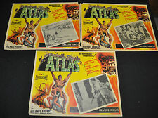 """Atlas 14""""x11"""" Spanish Lobby Card lot of 3 - Film Group (1961) ITB WH"""