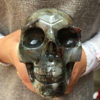 1.69LB Natural labradorite skull rock crystal manual stone carving UK3543