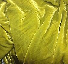 "Silk VELVET Fabric GOLDEN OLIVE GREEN fat 1/4 18""x22"" remnant"