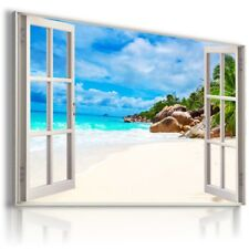 SUMMER BEACH OCEAN HOLIDAY 3D Window View Canvas Wall Art Picture W573 MATAGA