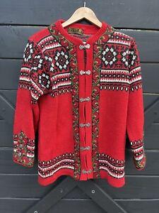 NORDSTRIKK Women's Hand knit Norwegian Red Cardigan Sweater Embroidery XL(?)