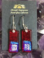 FUSED DICHROIC GLASS DANGLE EARRINGS HANDMADE UNIQUE