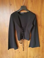 MISSGUIDED TOP Black Bell Flare Sleeve T-Shirt Lace Up Front UK 12 / 40 - VGC