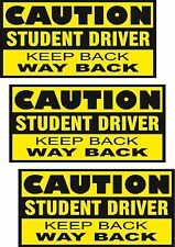 """Student Driver Magnets / 3 PACK / 12"""" Caution Keep Back / Vehicle Signage"""