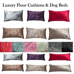Crushed Velvet FLOOR Cushion Covers ONLY Or with Inner 60 x 80, 80x120 DOG BEDS
