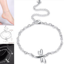925 Silver Plated Anklet - Dragonfly