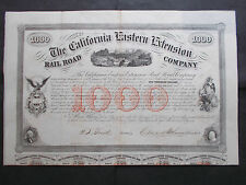 CALIFORNIA EASTERN EXTENSION RAILROAD  10% $1000- 1859  -  NOT CANCELLED