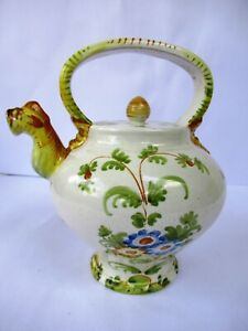 "Antique Firenze Italy Pottery Tea Pot Porcelain Ceramic Hand Painted Collectib""F"