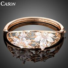 Luxurious Rose Gold Cubic Zirconia Flower Bangle Bracelets Wedding Jewelry Gift