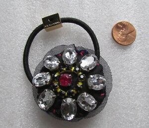 Juicy Couture Bracelet Stretch Hair Tie Pillow Crystal Charm NEW
