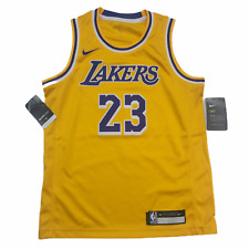 Nike Lebron James Los Angeles Lakers Gold Yellow Youth Jersey Size Medium New