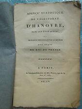 APERCU STATISTIQUE DE L'ELECTORAT D'HANOVRE, 1801.
