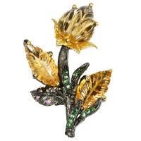 NATURAL CARVING CITRINE, TSAVORITE GARNET & AMETHYST 925 SILVER FLOWER BROOCH