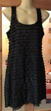 Ladies Size 12 Black Sparkly Evening Party Dress From Dorothy Perkins Vgc Ruffed