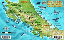 Costa Rica Dive Map & Caribbean Reef Creatures Laminated Fish Card Franko Maps