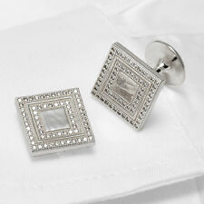 Men's Cufflinks Micro Setting CZ Stones 925 Sterling Silver Square Handmade
