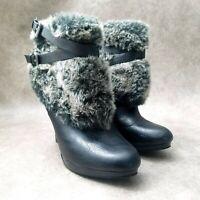 Style & Co Womens Frisky  Sz 8.5 M Black  Faux Fur Trim Heeled Ankle Boots