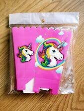 6 X UNICORN TREAT BOX POPCORN BOX UNICORN CANDY BOX UNICORN PARTY FAVOUR