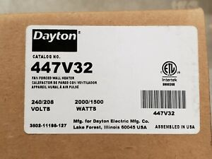 "NEW, DAYTON 447V32 Compact Recessed Electric Wall Heater ,8-1/2"" H, 208-240V"