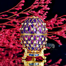 Purple Egg Shaped Crystal Metal Trinket Boxes Figurines Collection Wedding Gifts