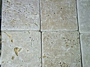 Travertine tiles tumbled Stone Wall floor edge Tile 100 x 100mm