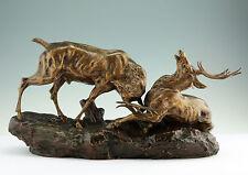 Bronze skulptur Thomas Francois Cartier 1879-1943 Kampfende Hirsche jagt figur