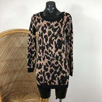 Minkpink Knitted Long Sleeve Dress Gold Sparkle Leopard Print Size XS Fitted