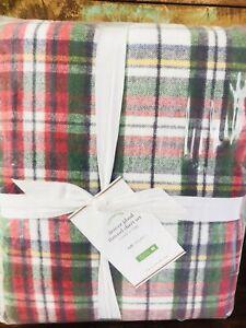 NEW Pottery Barn Denver Plaid Organic Full Sheet Set Christmas Red Flannel