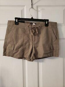 Banana Republic Brown Tan Khaki Cargo Linen Pockets 3.5 Inch Shorts Size 4