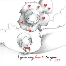 """""""I Give My Heart To You"""" Cupids Birthday/Anniversary Card him/her red lovehearts"""