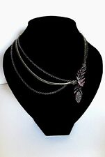 LOLLIPOPS COLLIER A TROIS CHAINES FANTAISIE METAL FEATHER FUCHSIA
