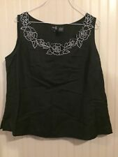 Dina K Womens Blouse, Sz L, Black,With White Floral Trim Sleeveless Zip up Side