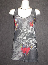 ED HARDY by CHRISTIAN AUDIGIER True Love Mesh Tank Top SZ L