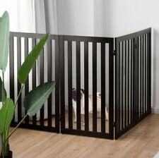 "35""H Wood Dog Gate Pet Fence Baby Playpen 4 Panel Folding Free Standing Indoor"