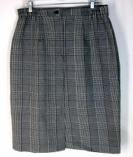 "Womens Classic Straight Career Skirt Size Large Vintage Black White Plaid W: 34"""
