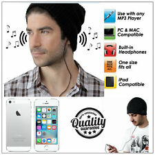 BLACK BEANIE HAT WITH BUILT IN SPEAKERS HEADPHONES - MP3 iPOD iPHONE 3.5MM JACK