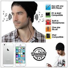 BLACK BEANIE HAT WITH BUILT IN SPEAKERS HEADPHONES - MP3 iPOD iPHONE 3.5MM JACK